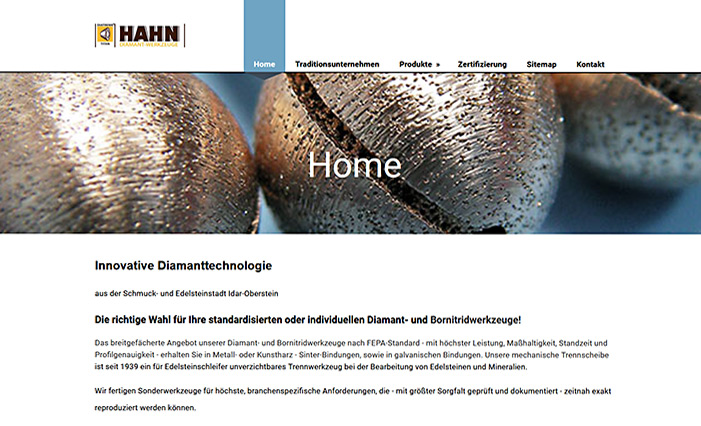 Website Firma Richard Hahn GmbH & Co. KG - Diamantwerkzeuge